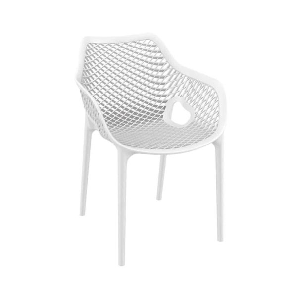 Bruce Stackable Outside Armchair DeFrae Contract Furniture White