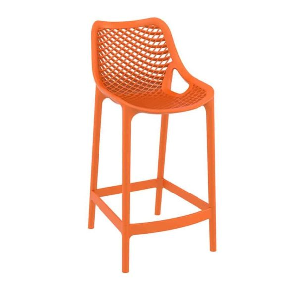 Bruce Stackable Outside Bar Stool DeFrae Contract Furniture Orange