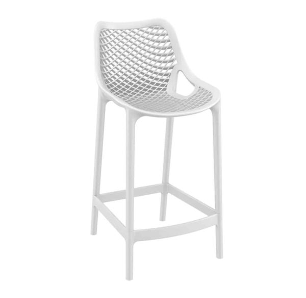 Bruce Stackable Outside Bar Stool DeFrae Contract Furniture White