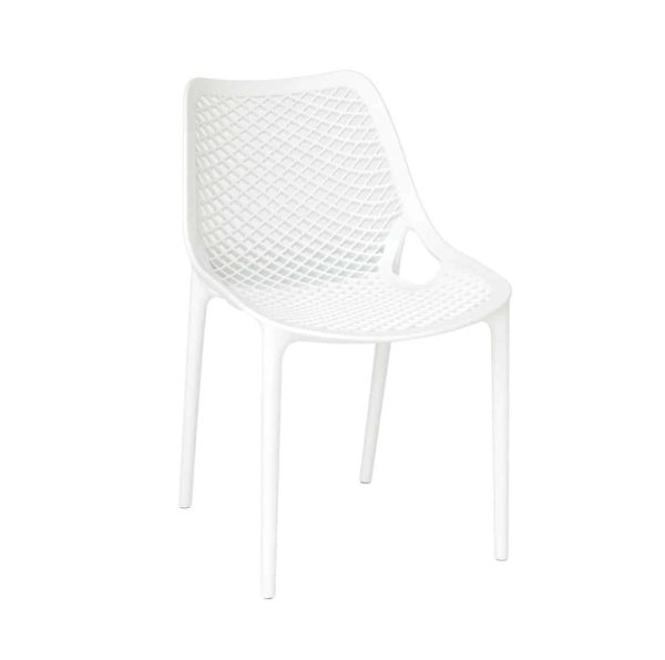 Bruce Stackable Outside Chair DeFrae Contract Furniture White