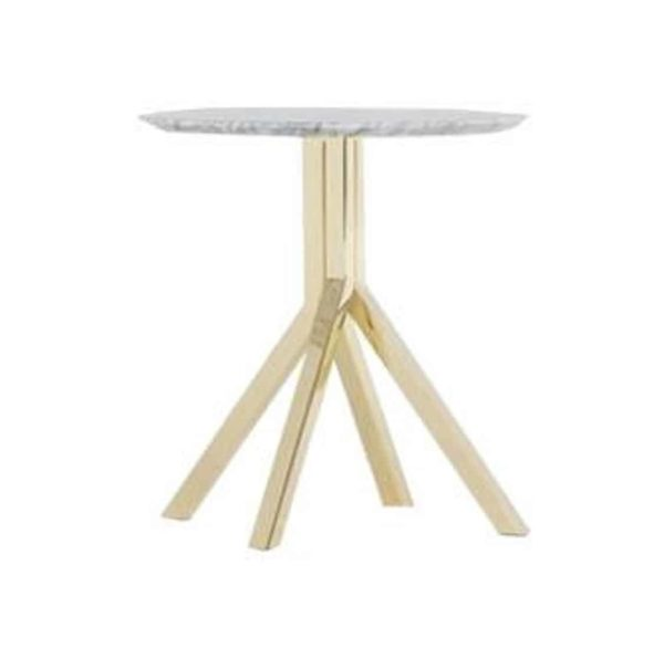 Buzz Table at DeFrae Contract Furniture Grapevine Brass Base Marble Top