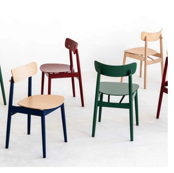 Chance curved back wood restaurant chair DeFrae contract furniture in situ colours