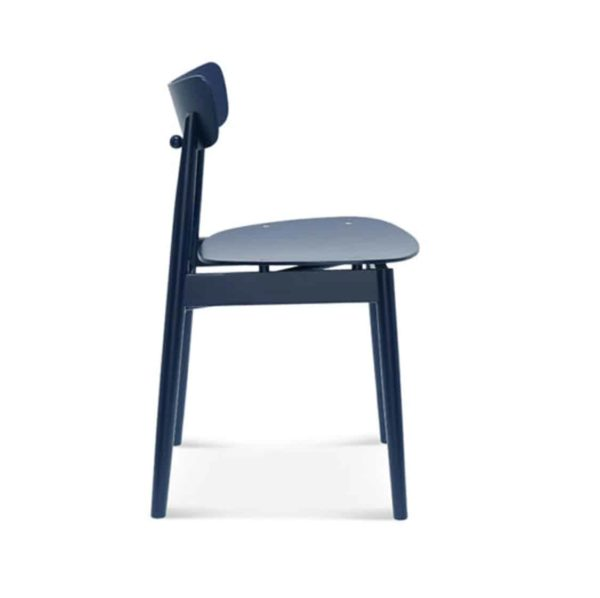 Chance curved back wood restaurant chair DeFrae contract furniture side view
