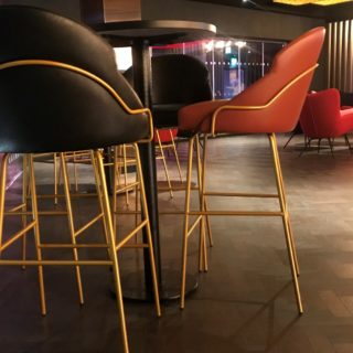Cineworld VIP Experience at the 02 contract restaurant bar furniture by DeFrae Paris Bar Stools Gold Frame