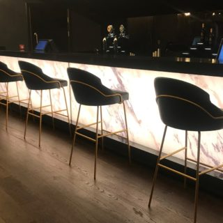 Cineworld VIP Experience at the 02 contract restaurant bar furniture by DeFrae Paris Bar Stools Gold Frame Black 2