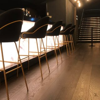 Cineworld VIP Experience at the 02 contract restaurant bar furniture by DeFrae Paris Bar Stools Gold Frame Black