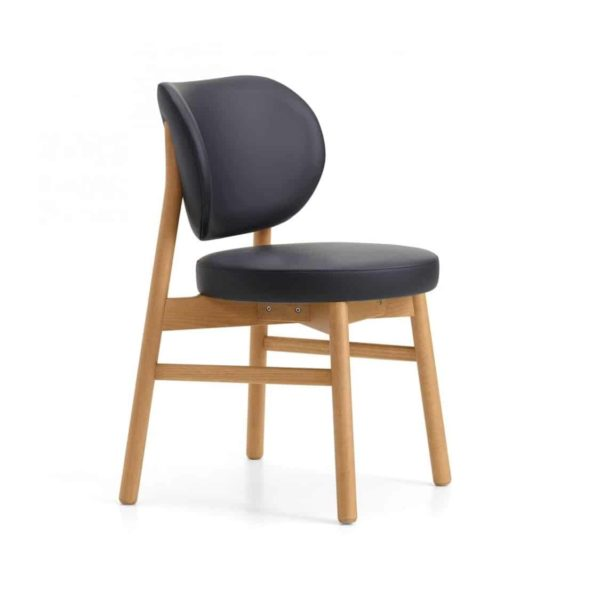 Coco Side Chair With Curved Back DeFrae Contract Furniture Cantarutti Fabric