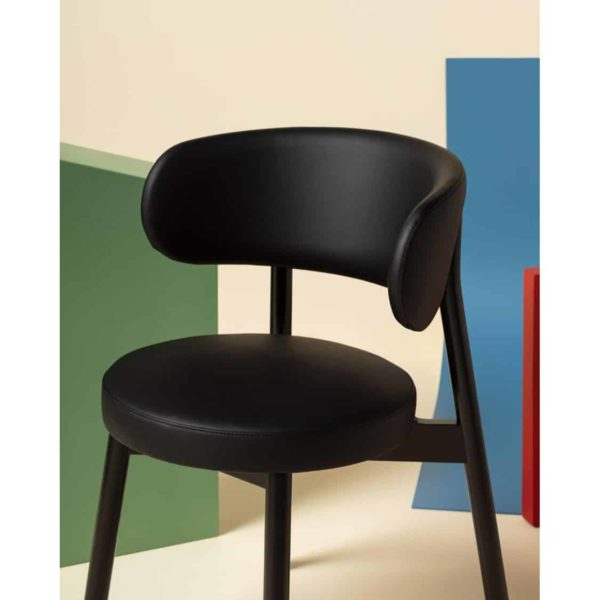 Coco armchair With Curved Back DeFrae Contract Furniture Cantarutti Black