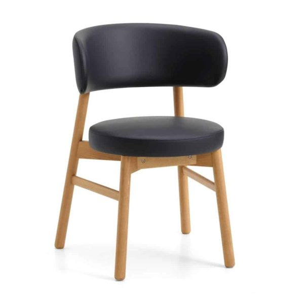 Coco armchair With Curved Back DeFrae Contract Furniture Cantarutti Black Natural Stain