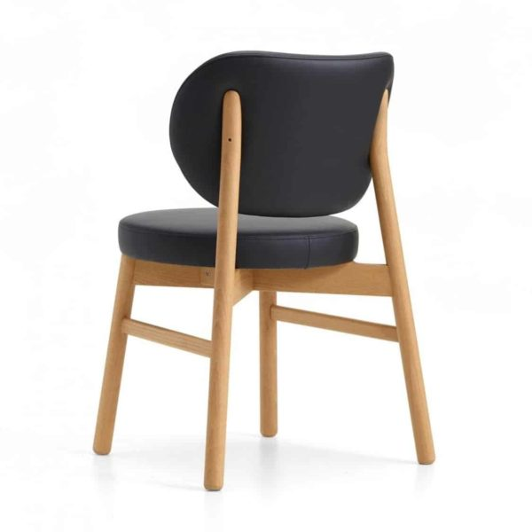Coco armchair With Curved Back DeFrae Contract Furniture Cantarutti Black Natural Stain Back