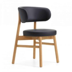 Coco armchair With Curved Back DeFrae Contract Furniture Cantarutti Black Natural Stain Side