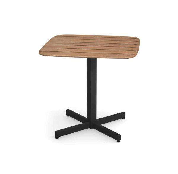 Comet table DeFrae Contract Furniture Emu Shine Black Base and teak table top