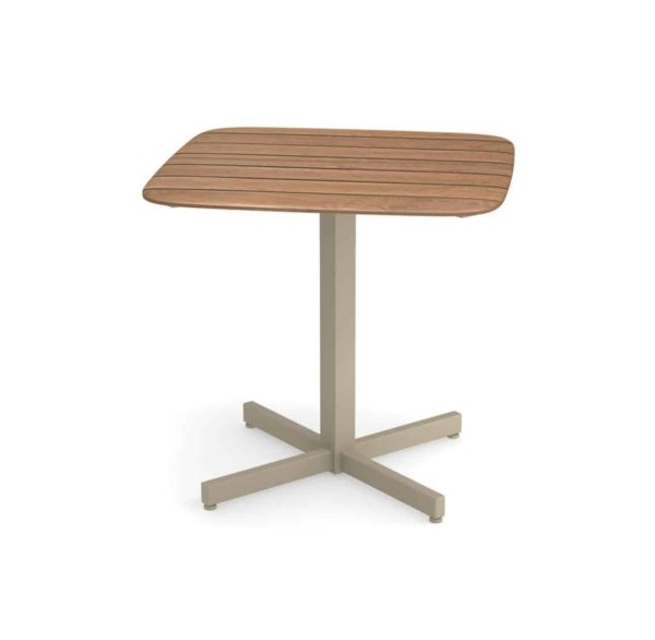 Comet table DeFrae Contract Furniture Emu Shine taupe base and teak table top