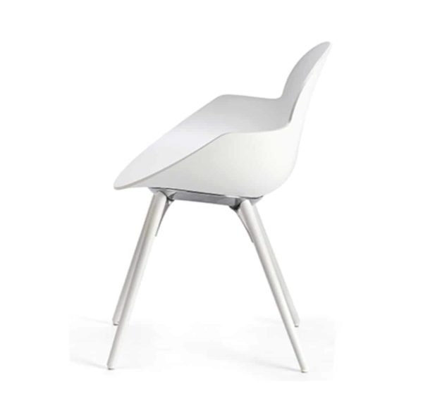 Cookie armchair with wooden legs DeFrae Contract Furniture White