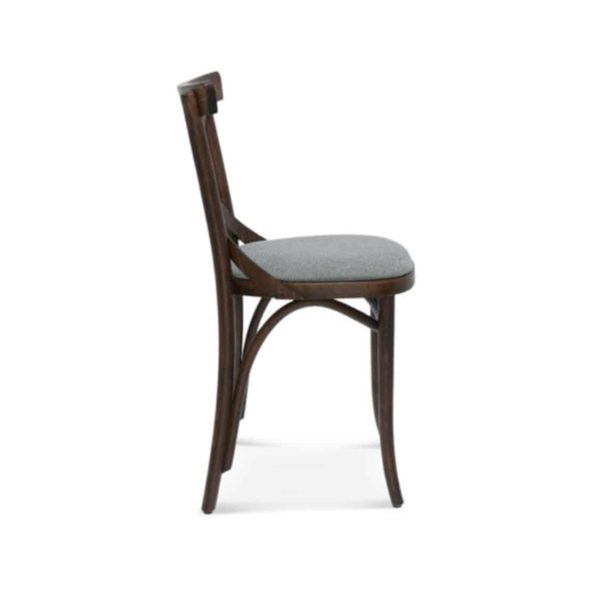 Cruz cross back bentwood side chair 8810 DeFrae Contract Furniture Side View Upholstered Seat