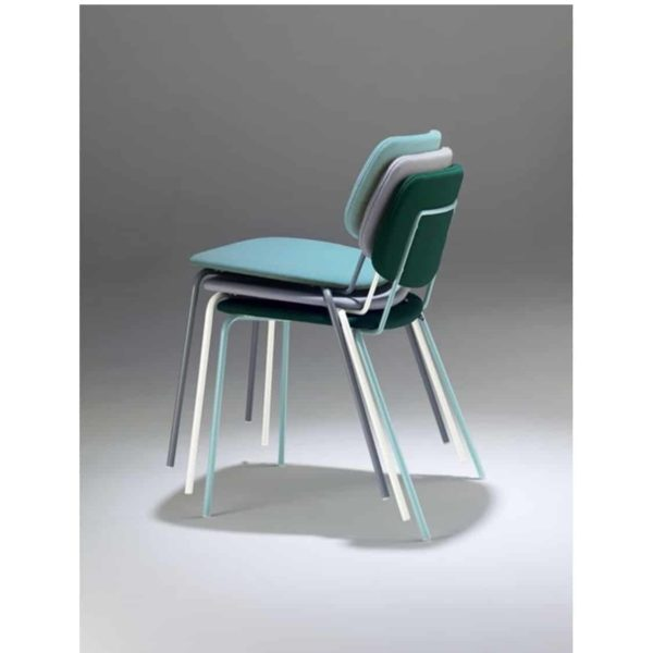 Doll steel side chair 060 Billiani DeFrae Contract Furniture Stackable Upholstered Colours