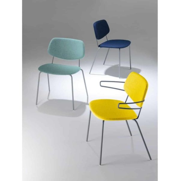 Doll steel side chair 060 Billiani DeFrae Contract Furniture Stackable Upholstered Range