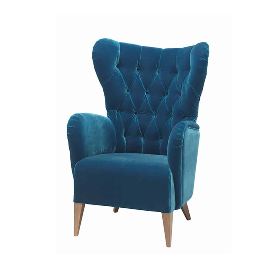 Duke Lounge Chair ContractIn at DeFrae Contract Furniture Button Back Blue Velvet