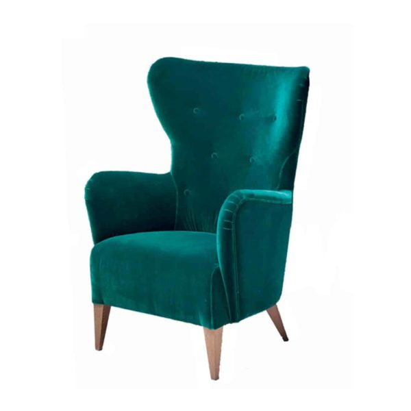 Duke Lounge Chair ContractIn at DeFrae Contract Furniture Button Back Green Velvet
