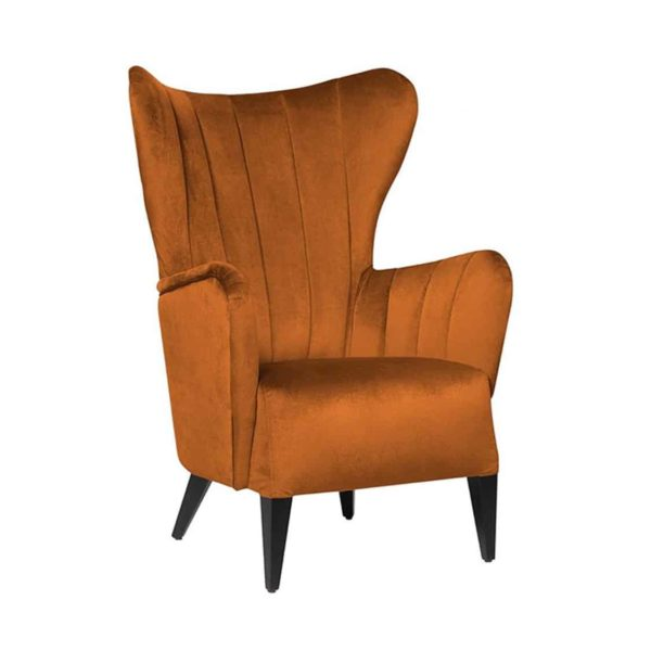 Duke Lounge Chair ContractIn at DeFrae Contract Furniture Fluted Back Rust Velvet
