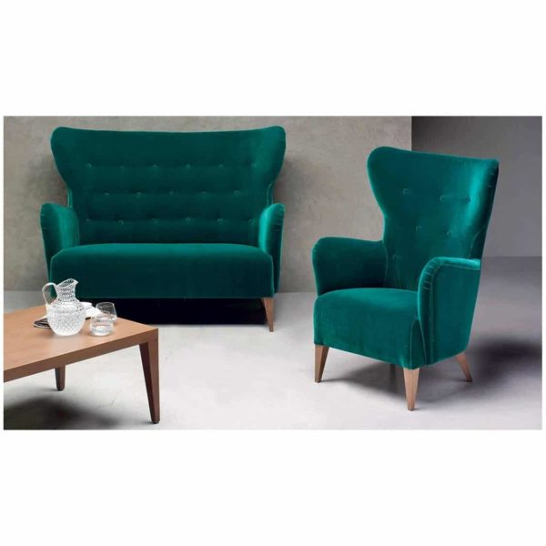 Duke Lounge Chair and Sofa ContractIn at DeFrae Contract Furniture Button Back Green Velvet