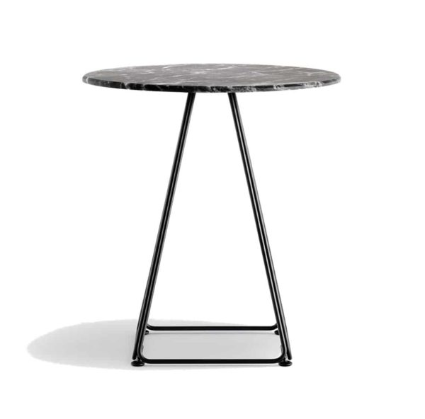 Eclipse Table base with marble top Lunar Pedrali available from DeFrae Contract Furniture Black Marble Effect Top