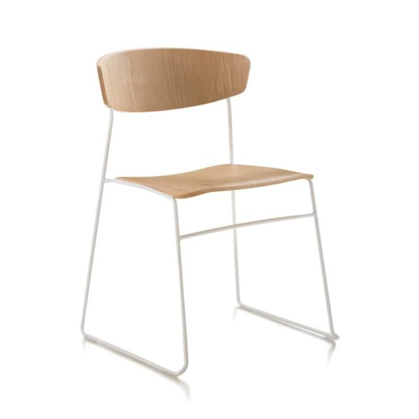 Eton side chair fornasarig Wolfgang Sled Base stackable chair