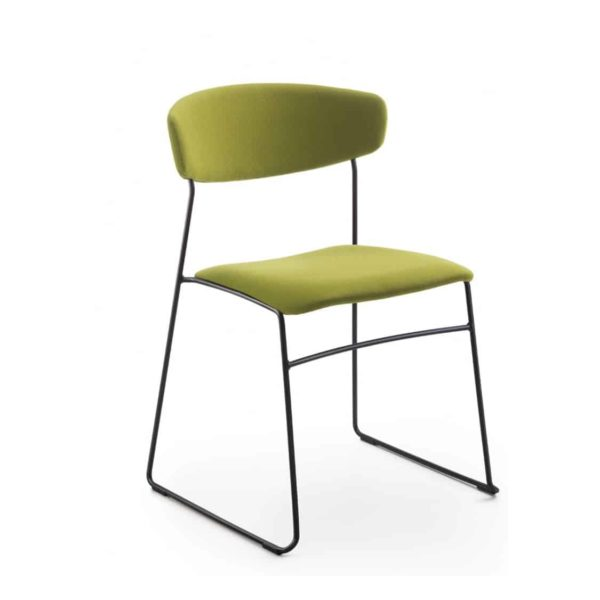 Eton metal side chair fornasarig Wolfgang Sled Base stackable chair uphosltered green velvet