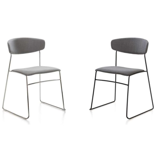 Eton metal side chair fornasarig Wolfgang Sled Base stackable chair uphosltered grey