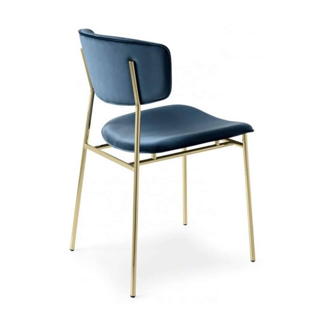 Fifties Chair by Calligaris at DeFrae Contract Furniture Gold Frame Blue Faux Leather
