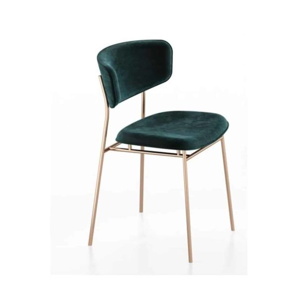 Fifties Chair by Calligaris at DeFrae Contract Furniture Gold Frame Green Velvet