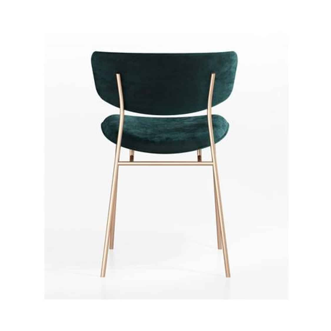 Fifties Chair by Calligaris at DeFrae Contract Furniture Gold Frame Green Velvet Back View