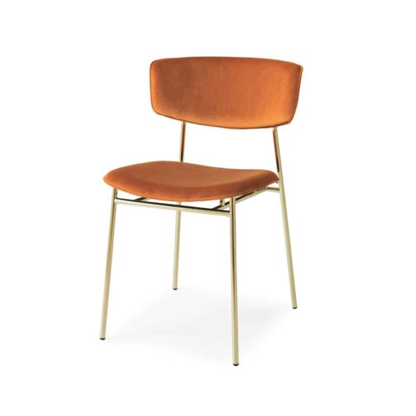 Fifties Chair by Calligaris at DeFrae Contract Furniture Gold Frame Rust Velvet