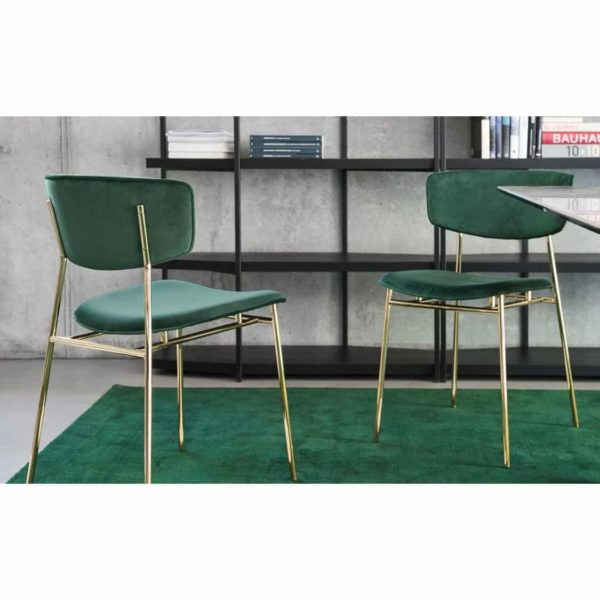 Fifties Chair by Calligaris at DeFrae Contract Furniture in situ green velvet and gold frame