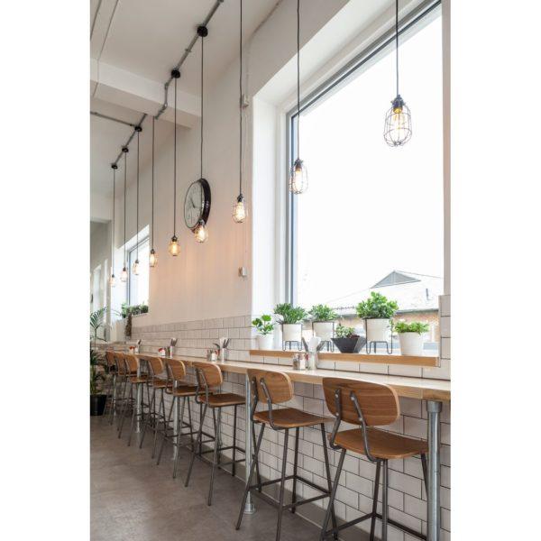 Florence Bar Stool Wood Metal Finish DeFrae Contract Furniture Back In Situ