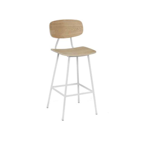 Florence Bar Stool Wood White Metal Finish DeFrae Contract Furniture