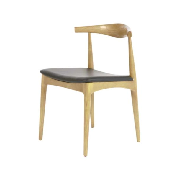 Flori Side Chair Curved Back Wood Chair Black Faux Leather Seat