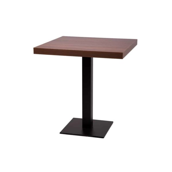 Forza square cast iron table base black dining height walnut tabletop