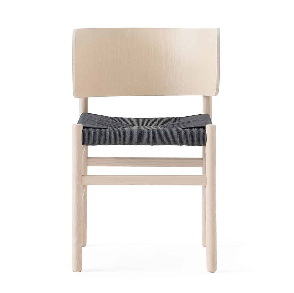 Fratina Side Chair with curved back and rope weave seat DeFrae Contract Furniture