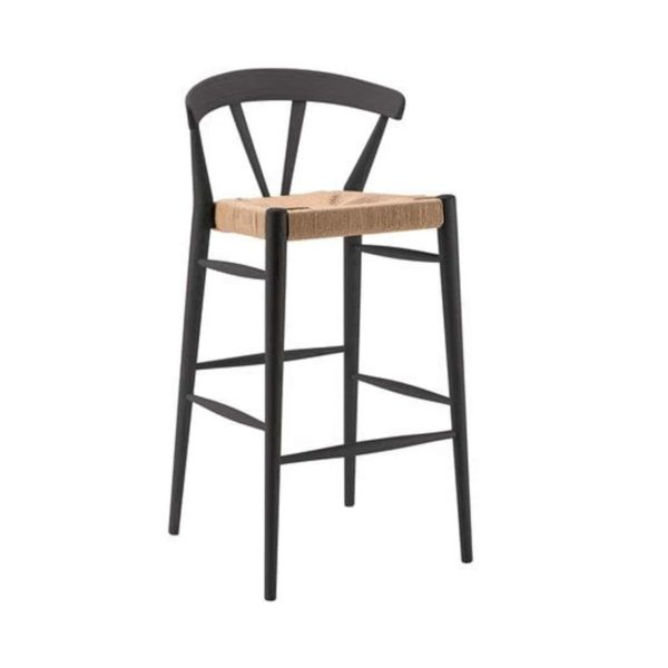 Ginger Bar Stool Wide Spindle Back Rush Seat DeFrae Contract Furniture