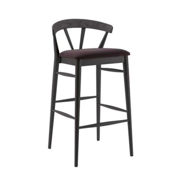 Ginger Bar Stool Wide Spindle Back Upholstered Seat DeFrae Contract Furniture Black