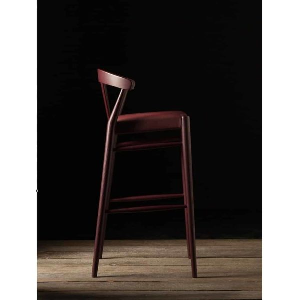 Ginger Bar Stool Wide Spindle Back Upholstered Seat DeFrae Contract Furniture Side View