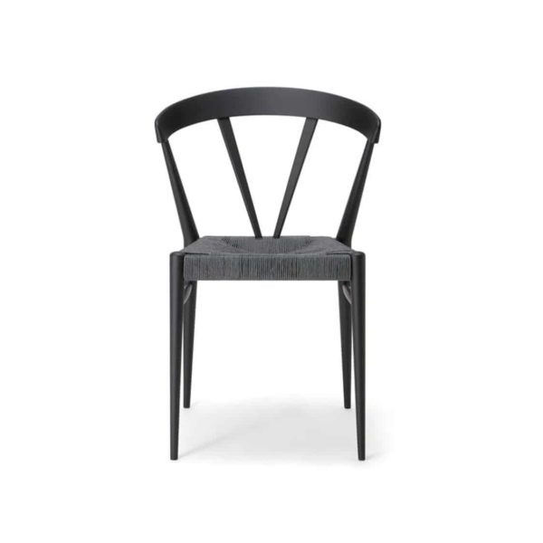 Ginger Side Chair Wide Spindle Back Rush Seat DeFrae Contract Furniture Front View
