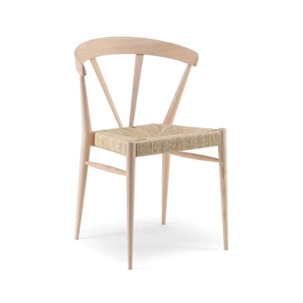 Ginger Side Chair Wide Spindle Back Rush Seat DeFrae Contract Furniture Natural Stain