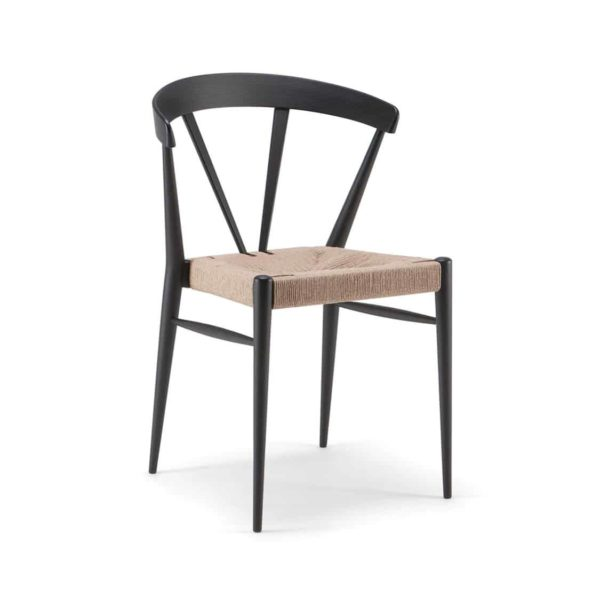 Ginger Side Chair Wide Spindle Back Rush Seat DeFrae Contract Furniture Two Tone