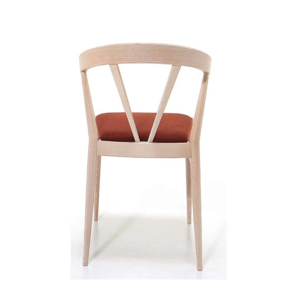 Ginger Side Chair Wide Spindle Back Upholstered Seat DeFrae Contract Furniture Back View