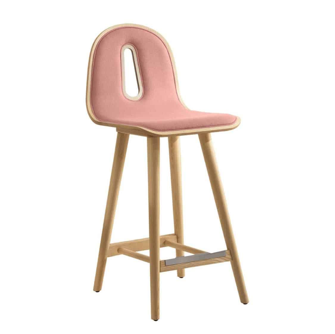 Gotham Woody Bar Stool DeFrae Contract Furniture Pink