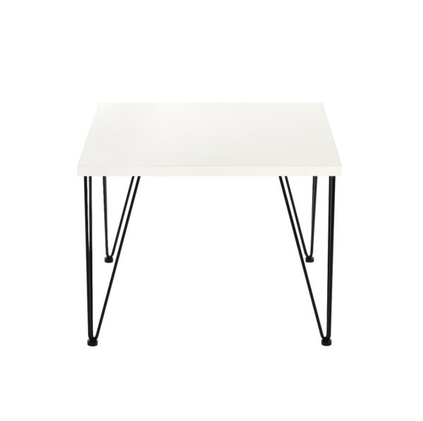 Hairpin Legs Tables by DeFrae Contract Furniture White Top Black Legs