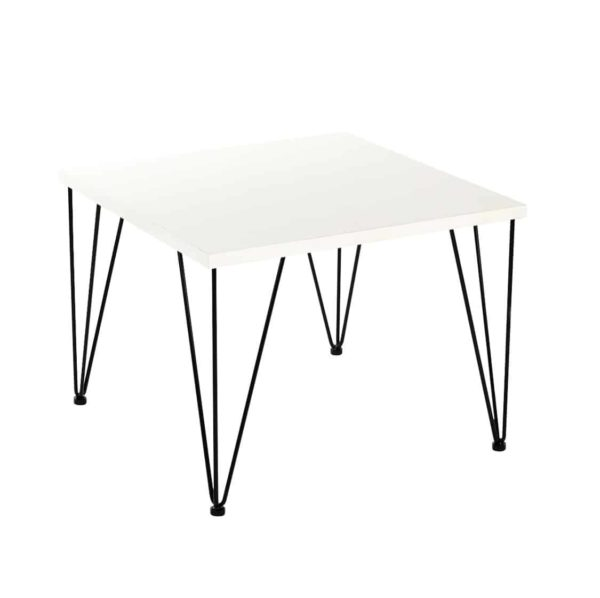 Hairpin Legs Tables by DeFrae Contract Furniture White Top Black Legs Side Vuew