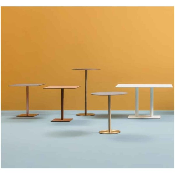 Inox Brass Copper and Sandblast Tablebases DeFrae Contract Furniture